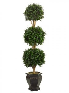 EF-4246 5' Tripple Ball Boxwood Topiary Green in Pot Shown Indoor/Outdoor