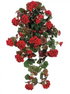"EF-115 30"" Large Geranium Hanging Bush  Red 21 Flowers 176 leaves (Sold in a set of 6pc)"