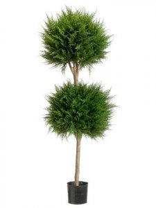 EF-204 	4' Canadian Cypress Double Ball Topiary Green Indoor/Outdoor