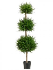 EF-214  4' Canadian Cypress Triple Ball Topiary Green Indoor/Outdoor(Price is for a 2pc set)