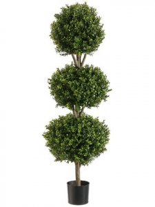 EF-274 4' Triple Ball-Shaped Boxwood Topiary in Plastic Pot Two Tone Green