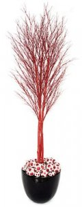 W-101647 7' Glittered Red Twig Tree Painted Red Natural Trunks