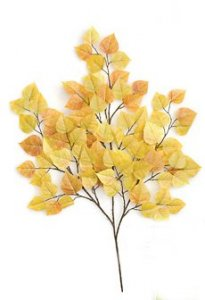 "P-087YB  27"" Cottonwood (Aspen)Branch -90 leaves -yellow/ Light Brown (Sold Per Dozen)"