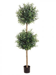 EF-63A 5.5' Natural Trunk Double Ball Olive Topiary w/Olive in Pot Two Tone Green (Price is for a 2 pc set)