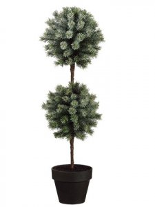 "EF-YTP001-SN 30"" Pine Topiary in Pot Snow (Price is for a 2 Pc Set)"