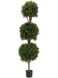"EF-275  5' Triple Ball 12"" 14"" 16"" -Shaped Boxwood Topiary in Plastic Pot Two Tone Green Indoor/Outdoor"