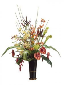 "EF-WF2663 	38""Hx31""Wx18""L Anthurium/Heliconia/Orchid in Ceramic Vase Orange Burgundy"