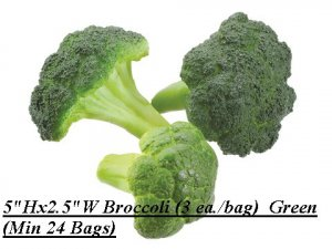 "EF-231 5""Hx2.5""W Broccoli (3 ea./bag)  Green (Price is for 24 Bags of 3pc Bags 72 Total Pcs)"