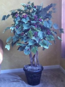 EF-2314  Custom Made to order Faux Grape Tree Bush  Natural Wood Trunk Sizes start from 3' tall to 5' tall.