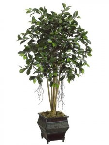 EF-7082  4' Ficus Tree in Decerative Metal Planter  Shown