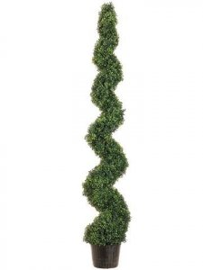 EF-716  6' Knock-Down Pond Boxwood Spiral Topiary in Plastic Pot Green Indoor/Outdoor