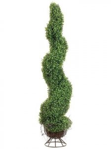 EF-824 	4' Spiral Boxwood Topiary in Metal Stand Green Indoor/Outdoor (Price is for a 2 pc set)