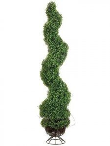 EF-825  5' Spiral Boxwood Topiary in Metal Stand Green Indoor/Outdoor (Price is for a 2 pc set)