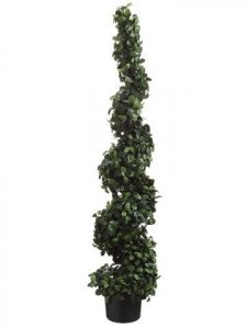 "EF-235  60"" Citrus Leaf Spiral Topiary in Pot Two Tone Green Indoor/Outdoor (Price is for a 2 pc set)"