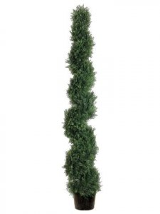 EFA-816	6'  Spiral Cedar Topiary in Plastic Pot Green (Indoor/Outdoor)