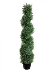 EF-814  4' Spiral Cedar Topiary in Plastic Pot Green Indoor/Outdoor (Price is for a 2pc set)