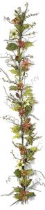 "P-81760 6' Clematis and Hydrangea Garland with Ferns and Leaves - Green/Red/Orange - 10"" Width"