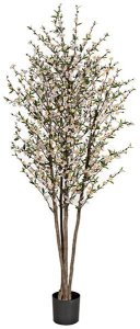 W-110025   7' Cherry Blossom Tree Natural Trunks White/Cream