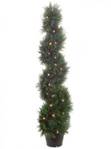 EF-164 	4' Spiral Cedar Topiary x692 w/70 Clear Lights in Plastic Pot Green (Price is for a 2 pc Set) Indoor or Outdoor use