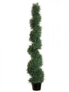 EF-815  5' Knock-Down Spiral Cedar Topiary in Plastic Pot Green Indoor/Outdoor