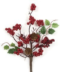 "10"" Styrofoam Red Berry Pick - Green Leaves/Pine Cones"