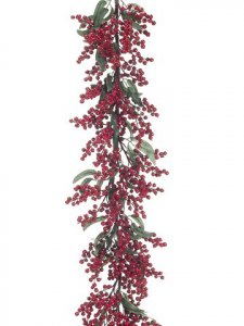 EF-134   	5' Holiday Berry/Eucalyptus Leaf Garland Red (Price is for a 2pc Set)