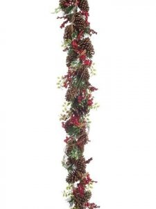 EF-468  	XDX468 	6' Pine Cone/Berry/Pine Garland Natural Red  (Sold in a 2 pc set)