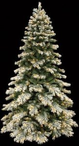 "C-90131  9' Flocked Mountain Pine Tree - Full - 3,144 Tips - 800 Clear Lights - 63"" Width - Wire Stand"