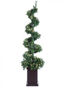 EF-9115  5' Snowed Helix Spiral Tree x260 w/100 Clear Lights in Wood Box Green Snow
