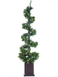 EF-9015	5' Helix Spiral Tree x260 w/100 Clear Lights in Wood Box Green
