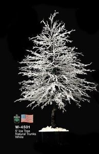 5' Alpine Ice Christmas Tree - White - Painted Black Natural Trunk