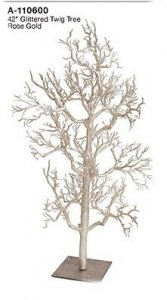 "42"" Plastic Glittered Twig Christmas Tree - Metal Base - Rose Gold"