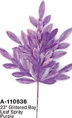 "23"" Plastic Glittered Bay Leaf Spray - Purple"