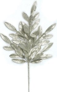 "23"" Plastic Glittered Bay Leaf Spray - 8"" Stem - Metallic Silver"