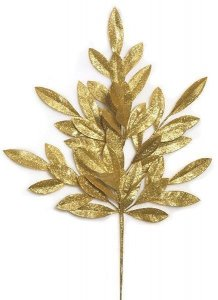 "23"" Plastic Glittered Bay Leaf Spray - 8"" Stem - Gold"