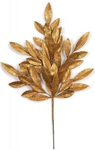 "23"" Plastic Glittered Bay Leaf Spray - 8"" Stem - Copper"