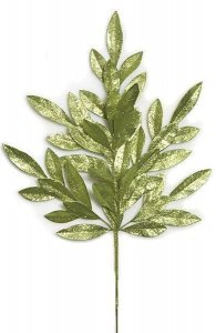 "23"" Plastic Glittered Bay Leaf Spray - 8"" Stem - Sage Green"