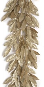 "6' Plastic Glittered Bay Leaf Garland - 48 Champagne Leaves - 8"" Width"