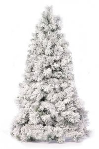 EF-1933 2' to 10' Slim/Pencil Forest Pine Christmas Tree Heavy Flocked Long Needle Pine Tree