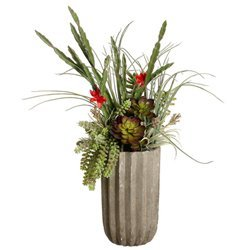 "EF-3416 28""Hx20""Wx20""L Succulents in Fluted Cement Pot Green Red"
