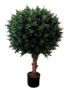 "EF-1821 30"" Tall 15"" Wide Outdoor Plastic Boxwood Ball  with Natural Wood Trunk"