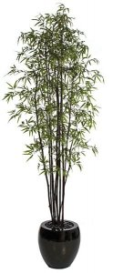 "9' Black Bamboo Tree - 10 Natural Canes - Green Leaves - 44"" Width"