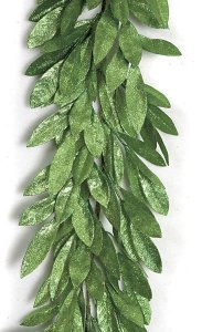 A-110664  	 6' Glittered Bay Leaf Garland - Green
