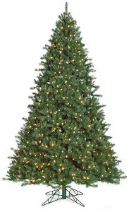 7.5' , 10' and 12' Tall Pre-Lit Monroe Pine Christmas Tree Fluff Free® with Warm White LED Lights