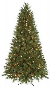 7.5' Tall and 10' Tall Valley Pine Christmas Tree with clear lights and wire stand
