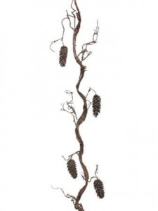 "EF-662  75"" Pine Cone/Twig Garland  Dark Gray**Price is for a 4 pc set**"