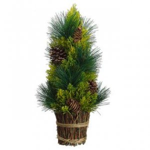 "EF-285  17"" Pine Cone/Pine Cone Tree in Twig Basket Green Brown***Price is for a 2 PC Set***"