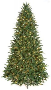 "C-120804 7.5' Kennedy Fir Tree - Full Size - PVC/Plastic Tips - 550 Warm White LED Lights - 55"" Width"