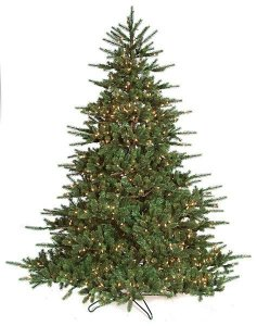 7.5 Ft Tall & 10ft Tall Asheville Spruce Artificial Christmas Tree Full PVC/Plastic Green Tips Clear Lights with Stand