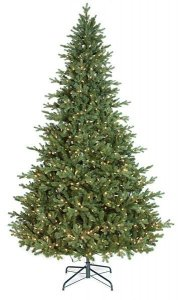 7.5' Tall or 9' Tall Finland Fir Christmas Tree With Warm LED Lights & Stand Select Your Height Choice